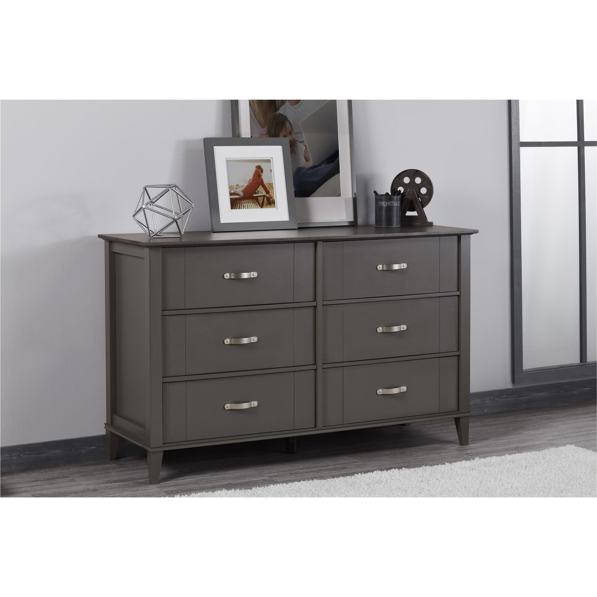 Ameriwood Home Altra Quinn 6 Drawer Dark Grey Two Tone Dresser 6