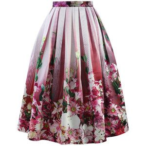 Chicwish Hot Pink Floral Tulle Print Midi Skirt