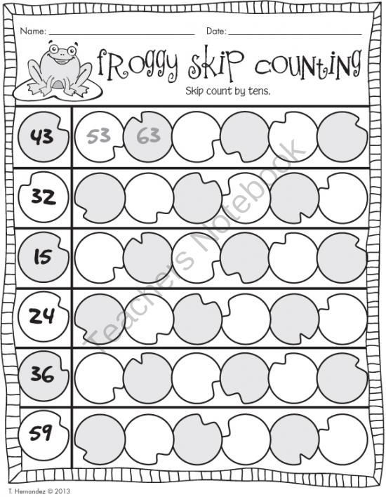 Froggy Skip Counting by Tens from First Grade is Sweet on – Count by Tens Worksheet