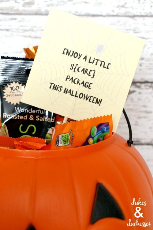 halloween s{care} package for college student {with a free printable} #spookybasketideasforboyfriend