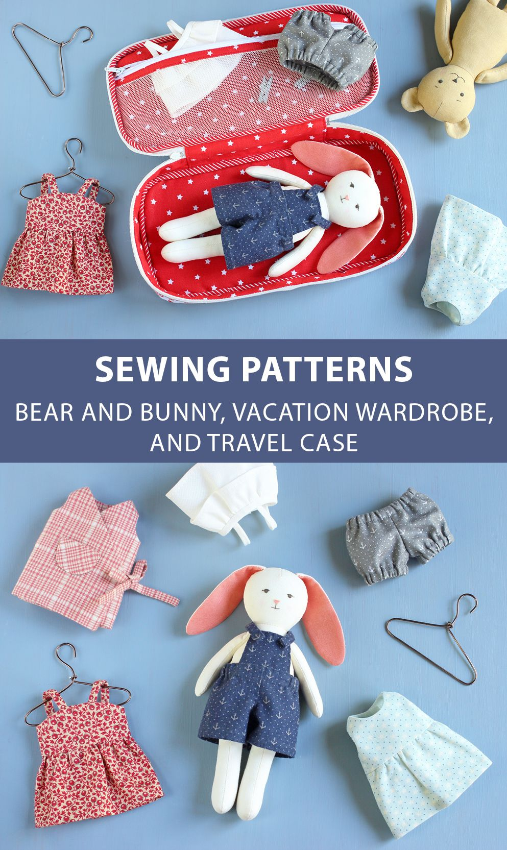 Sewing pattern for a bunny doll. Patterns for the wardrobe and travel case are also available. #etsy #etsyfinds #pattern #sewingpattern #pdfpattern #sew #sewing #sewingproject #diy #doll #bunny #traveltoy #dolls #animaldoll #travelcase #travel #instructionstodollpatterns