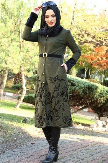 Tesettur Kap Yaka Kurklu Ayse Melek Haki 1083 Kadin Modasi Moda Kadin