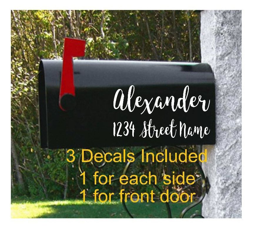 Set Of 3 Custom Vinyl Mailbox Decals 2 Decals With Last Name Etsy Mailbox Decals Custom Mailboxes Personalized Mailbox