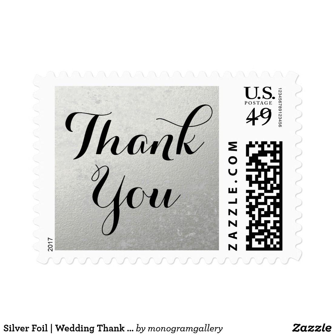 Silver Foil   Wedding Thank You Stamp   Wedding