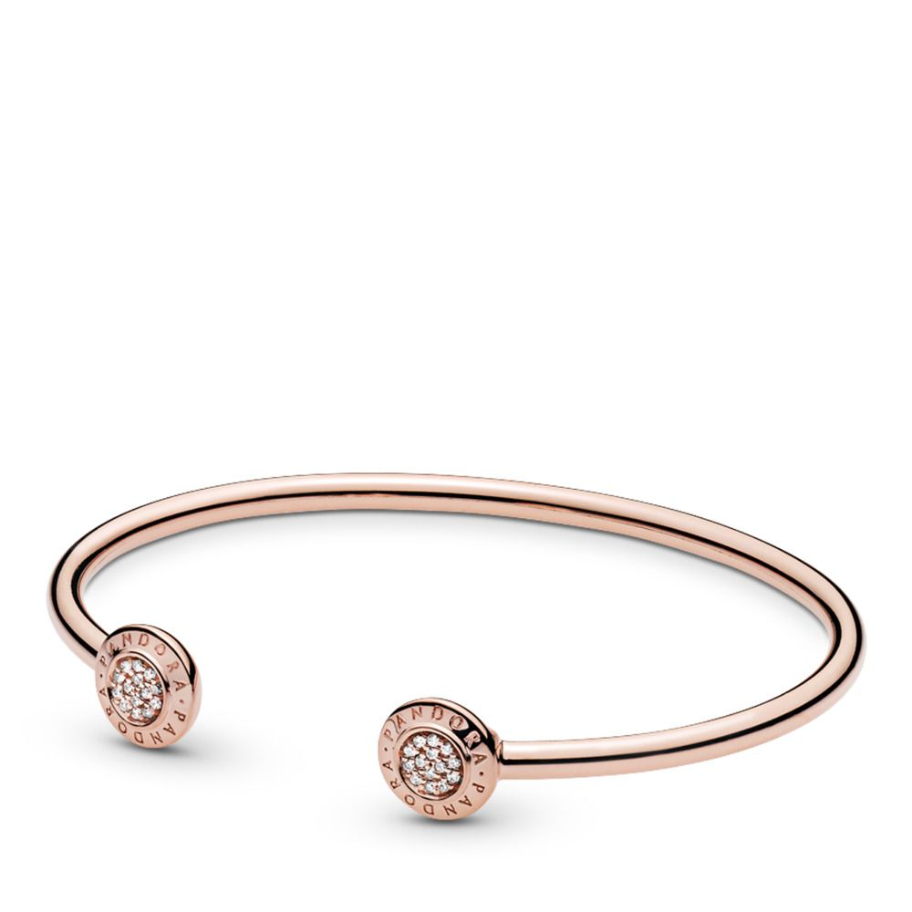 PANDORA Signature Open Bangle Bracelet, PANDORA Rose™, PANDORA ...