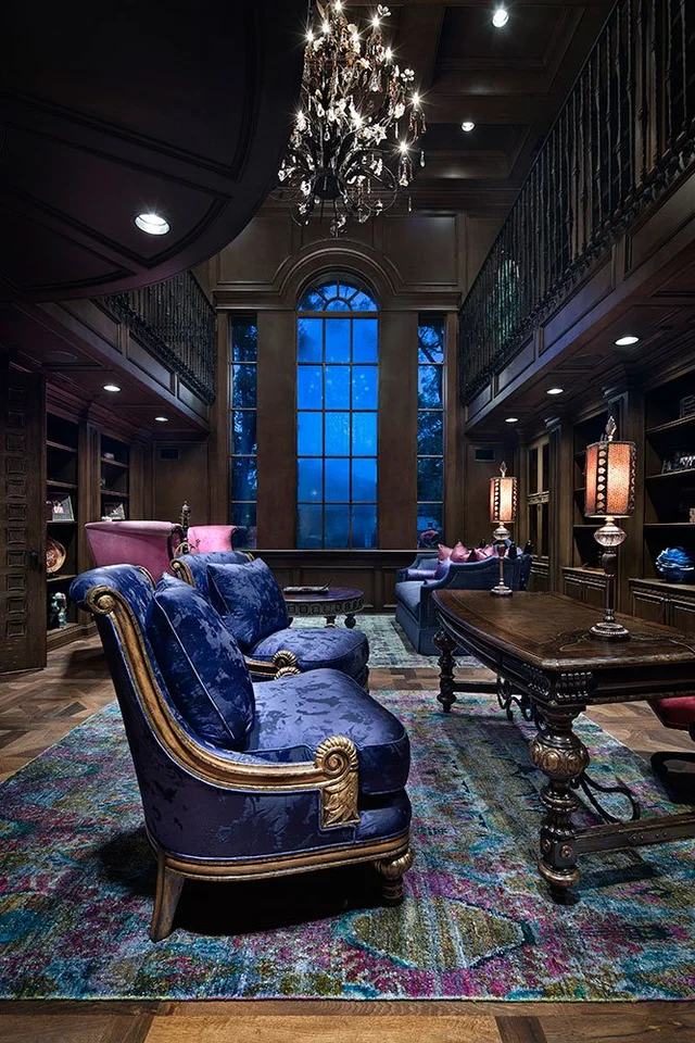 Rich Moroccan Colors add a dose of Saturation to Expansive, Dark Wood Study [667 x 1000] : RoomPorn