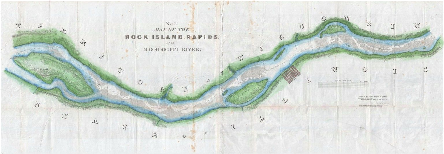 A Scarce 1837 Map Of The Mississippi River S Rock Island Rapids In