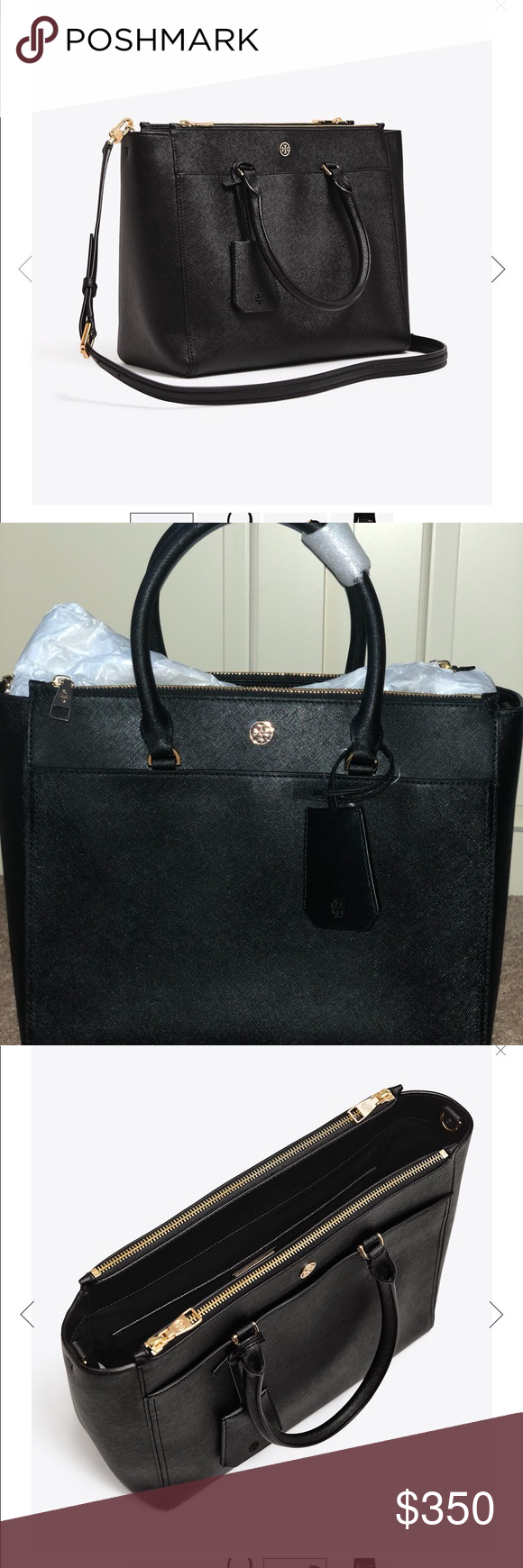 4b820b743c3c NWT Tory Burch Robinson Double ZIP Tote Black Brand new with tag ...
