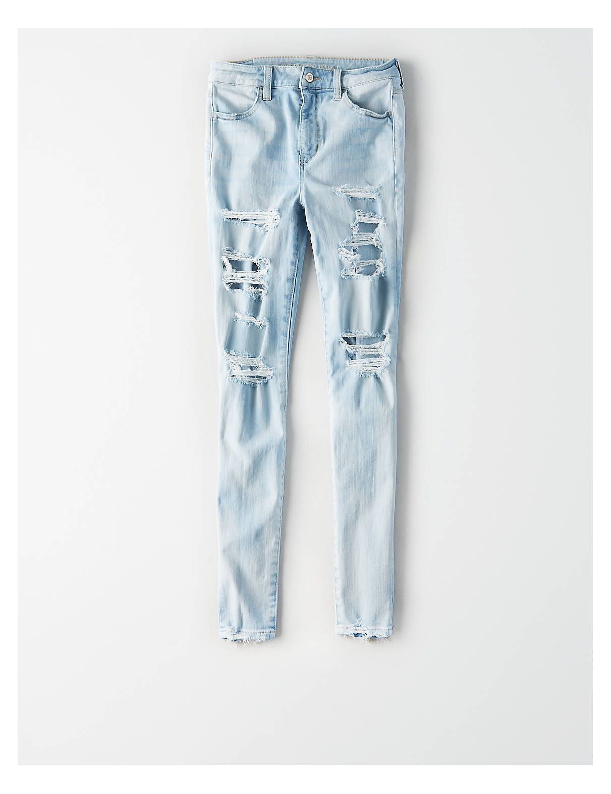 23d37e1f7276a AE 360 Ne(X)t Level Super High-Waisted Jegging Crop, Indigo Skylight  Destroy | American Eagle Outfitters