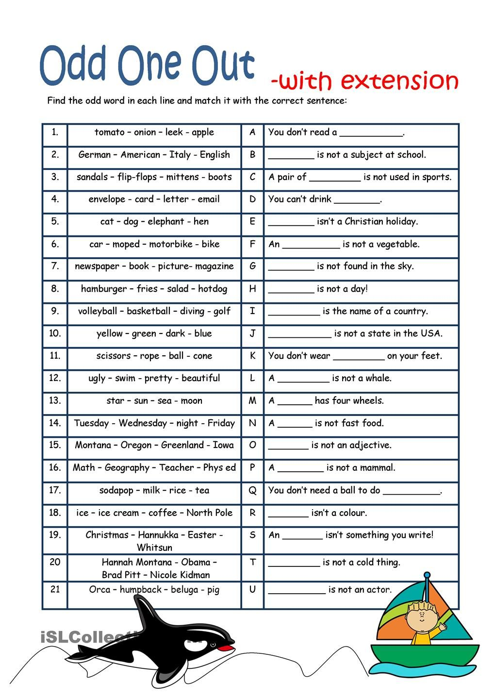 Odd One Out With Extension English Worksheets For Kids Worksheets For Kids Reading Comprehension Worksheets [ 1440 x 1018 Pixel ]