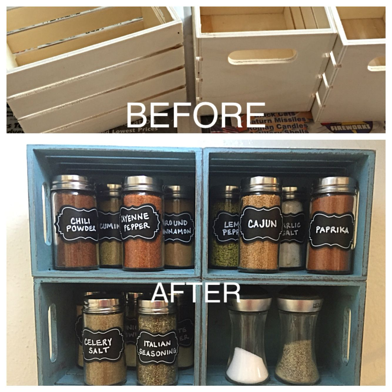 Small crates from Walmart  Waverly truffle chalk paint, then