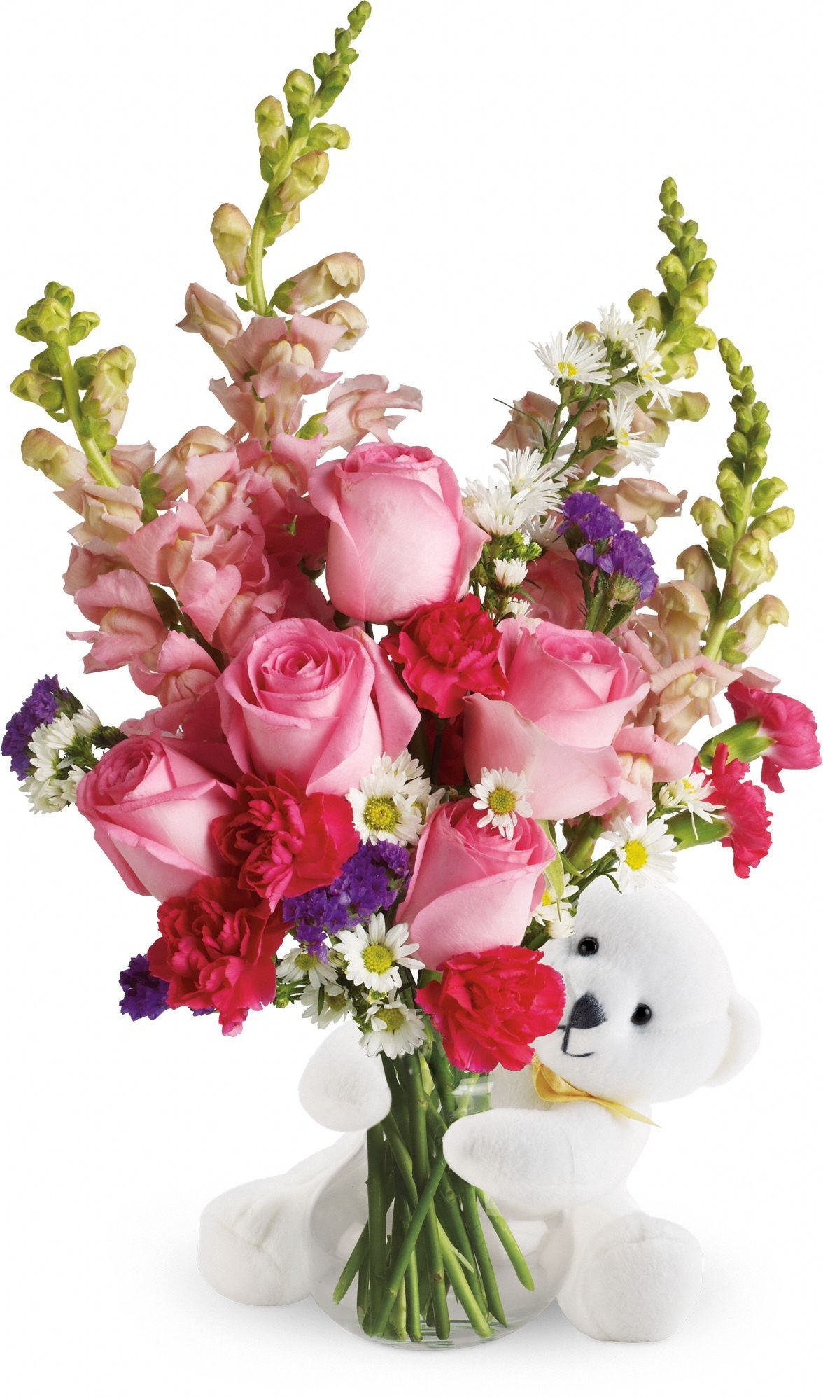 Teleflora's Bear Hug Bear with Pink Roses great get well