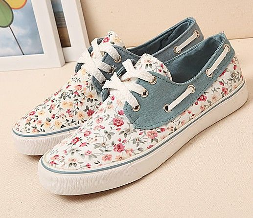 womens Skateboarding Shoes Canvas horse and flower Sport Sneaker