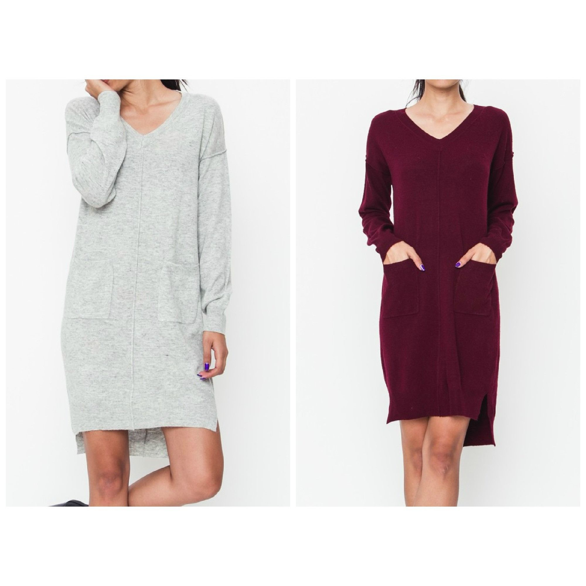 Raw Seaming V-Neck LS Sweater Dress