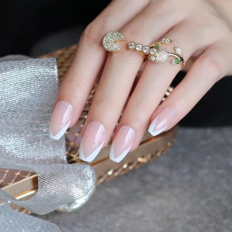 French Coffin Fake Nails Personality UV False Nails Ballet
