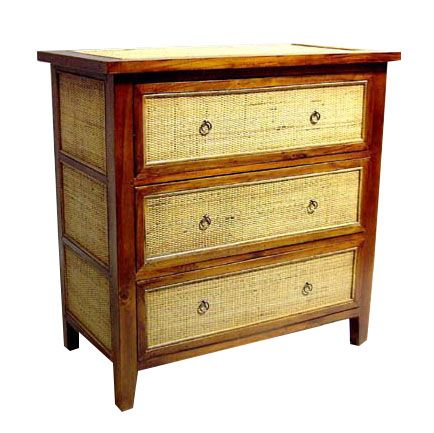 Teak And Rattan Dresser 1040 Tropical Wood