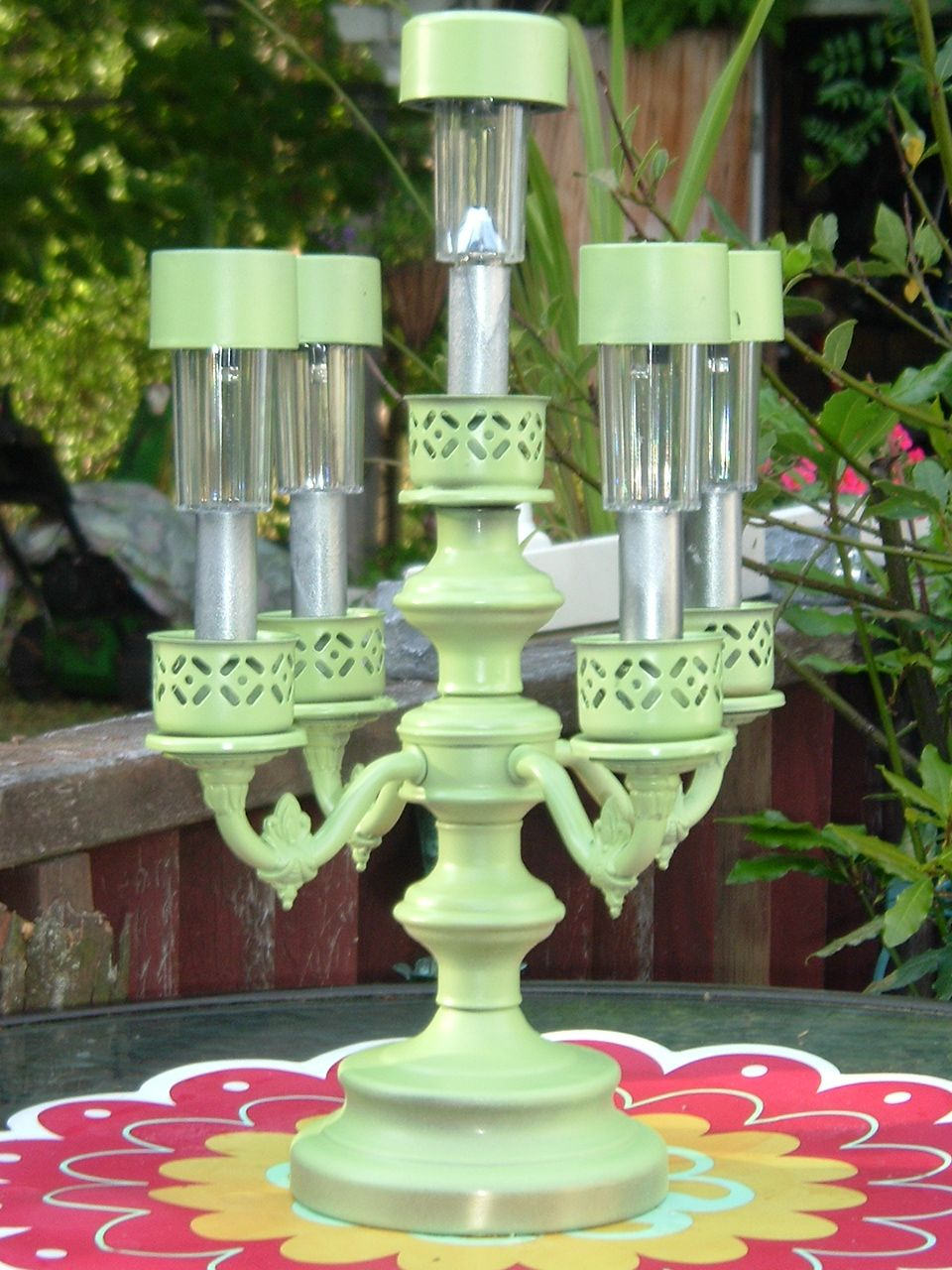 This was an ugly brass thing found at thrift store for 2 dollars pinner says this was an ugly brass thing found at thrift store for 2 dollars some solar lights from walmart a little spray paint lights and all and now arubaitofo Choice Image