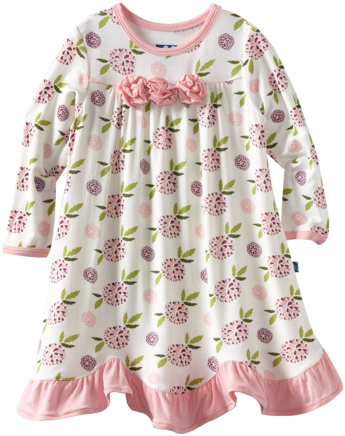 Kicky Pants Baby-Girls Infant Long Sleeved Print Flower Dress