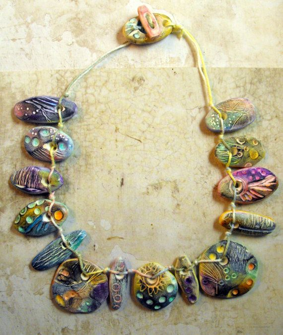 Fanciful Artisan Polymer Clay Necklace Pebbles by MargitBoehmer