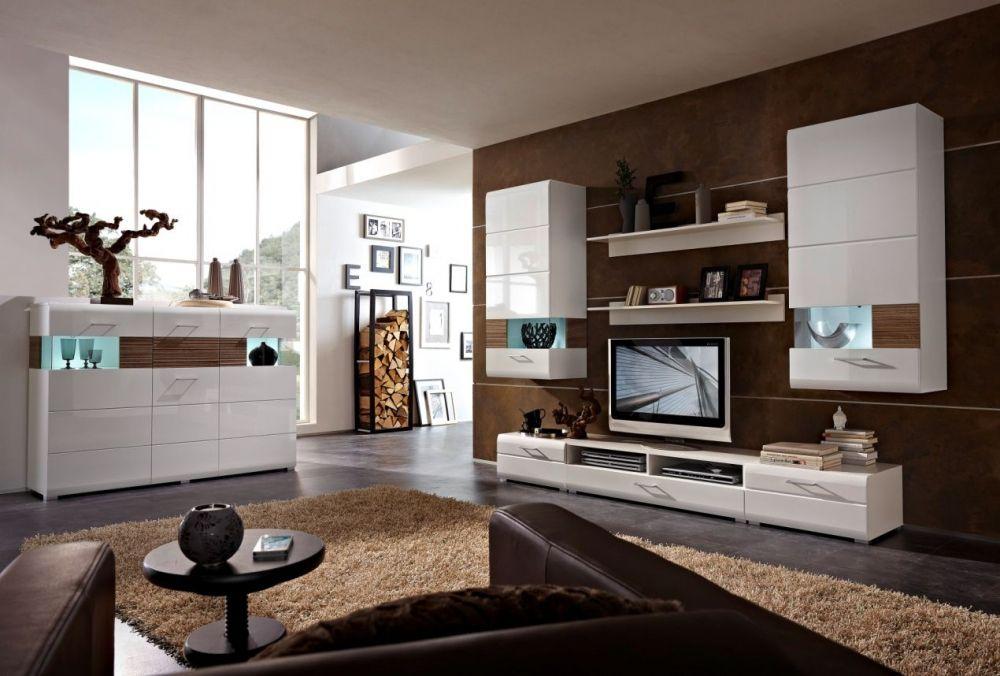 flinn wohnwand i weiss eiche dunkel gerundete kanten und gl nzendes design wohnzimmer. Black Bedroom Furniture Sets. Home Design Ideas