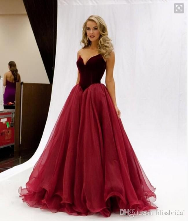 Vintage Dark Red Wine Prom Dresses Organza Sweetheart A Line Princess Royal Party Gowns Simple Custom Red Prom Dress Backless Prom Dresses V Neck Prom Dresses
