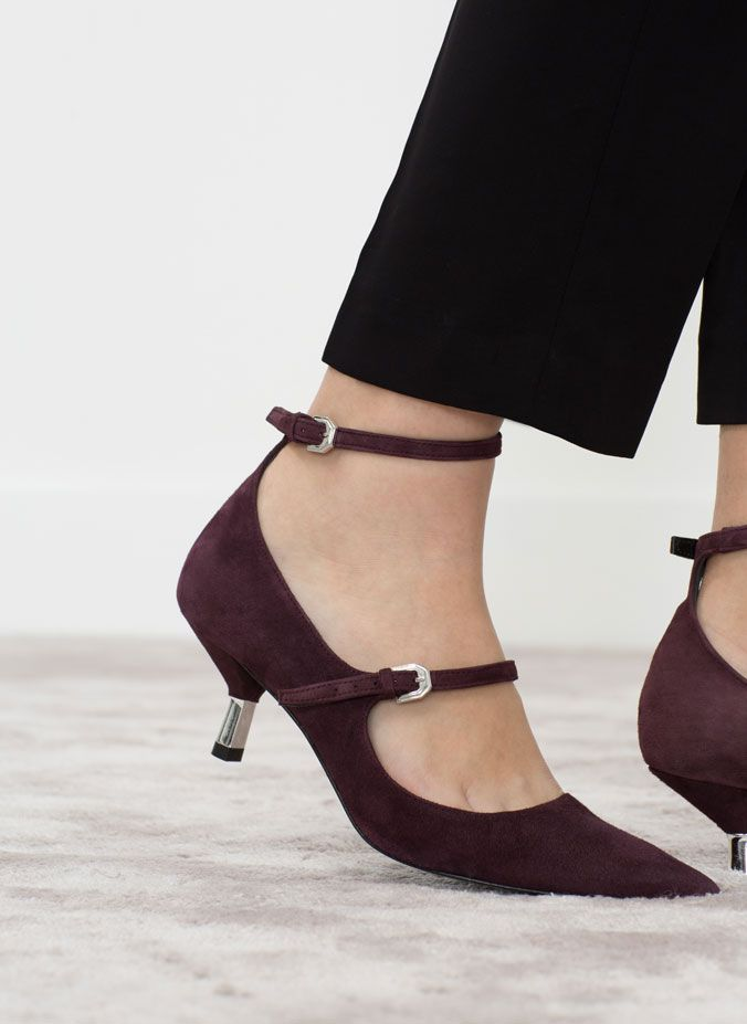Uterqüe  SUEDE HIGH HEEL SHOES WITH BUCKLES 550.00 AED