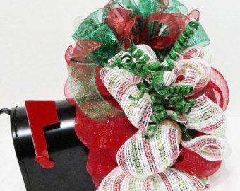 christmas mailbox cover swag wrap decoration christmas deco mesh mailbox wreath cover red green