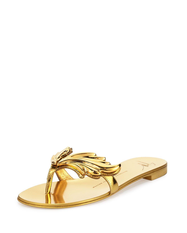 2da1e9d57fcc3 Flame Metallic Flat Thong Sandal