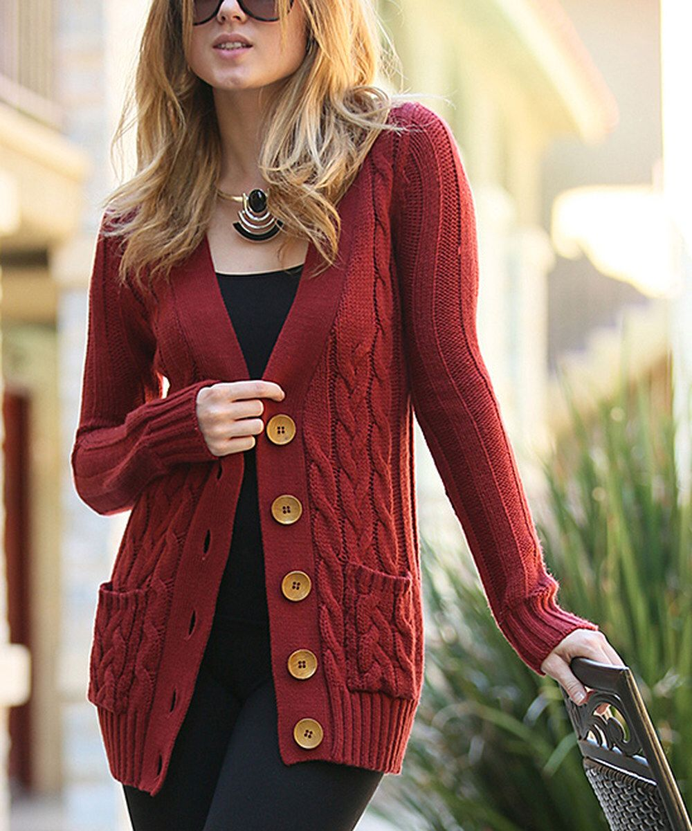 Look at this Rust Cable Knit Big Button Cardigan on #zulily today ...