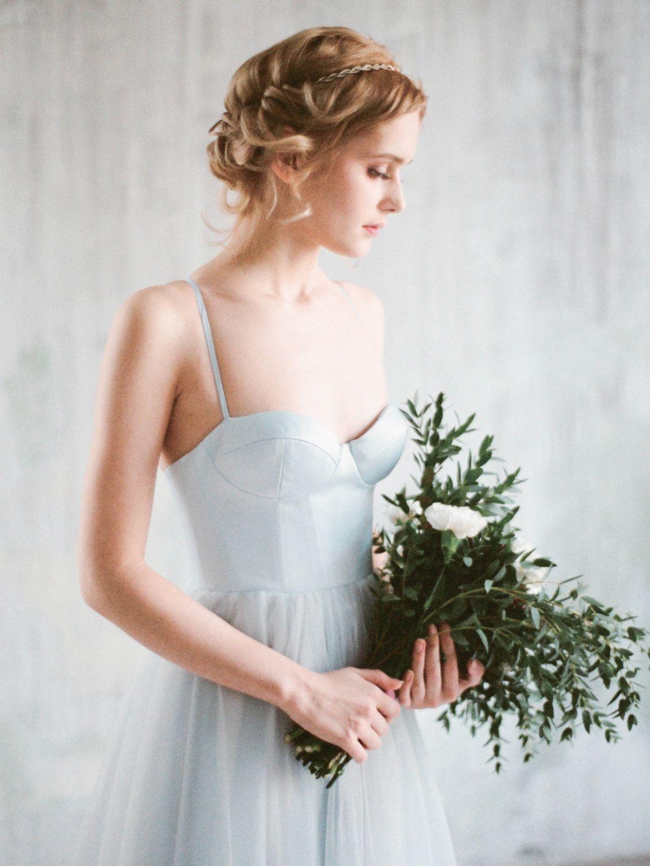 Aley blue corset wedding gown boho wedding dress with wedding