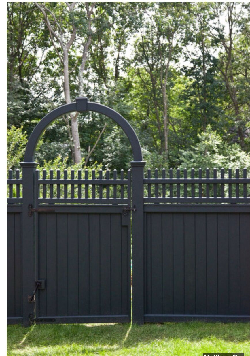 Dark grey painted fence garden pinterest fences Fence paint colors ideas