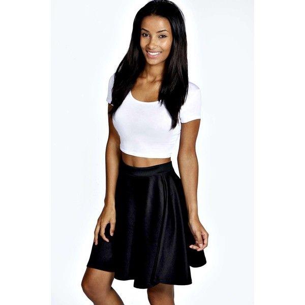68ffb40fd Boohoo Basics Jess Skater Skirt ($14) ❤ liked on Polyvore featuring skirts,  black, high waisted skater skirt, floral skater skirt, black circle skirt,  ...