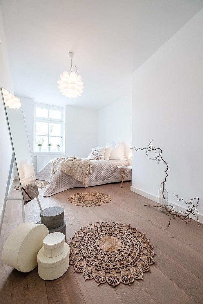 schlafzimmer gestalten ideen bett helle farben