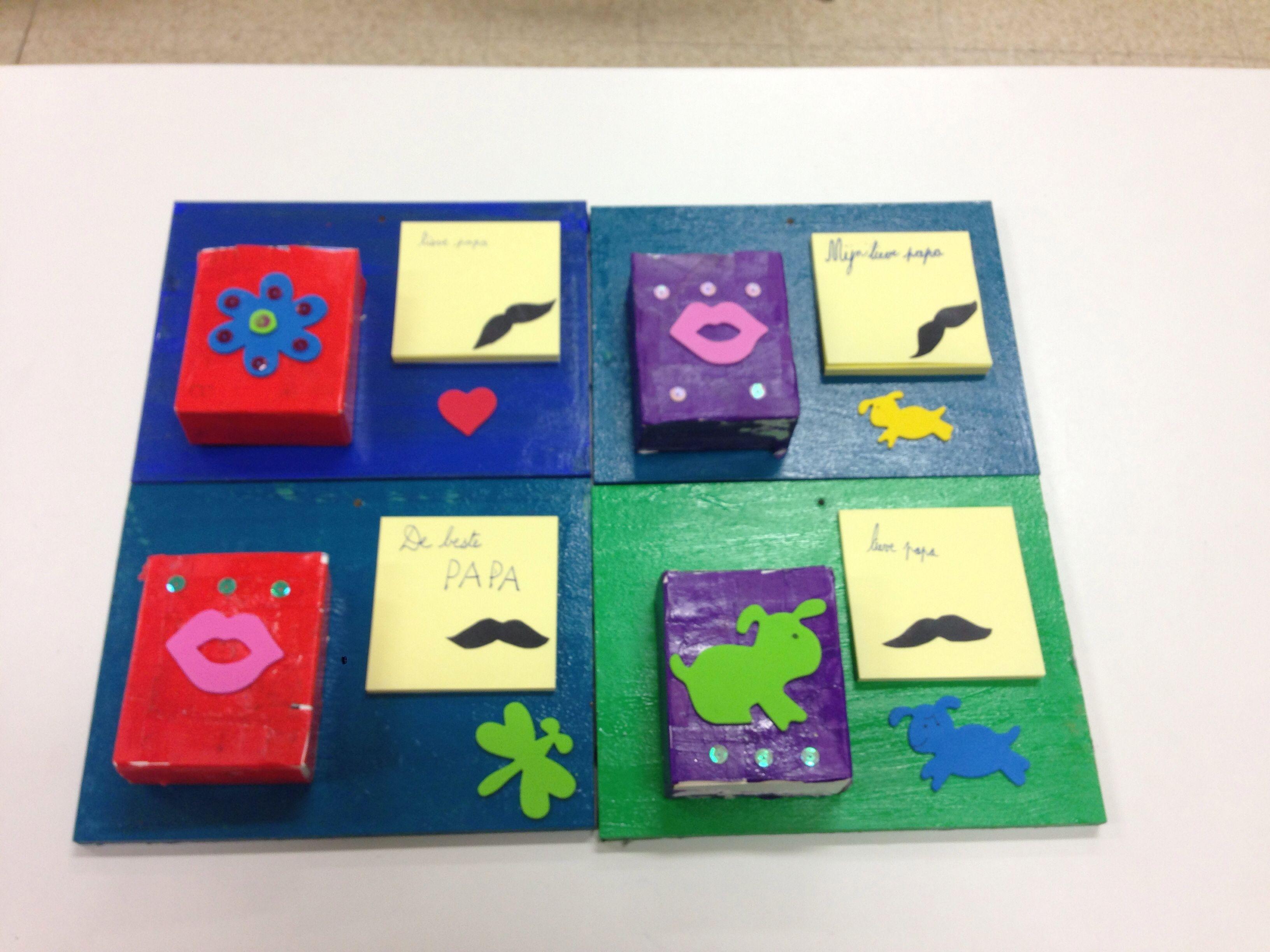 Plankje met doosje voor schrijfgerief en post-it. Ideaal wanneer papa's een geheugensteuntje nodig hebben ;)