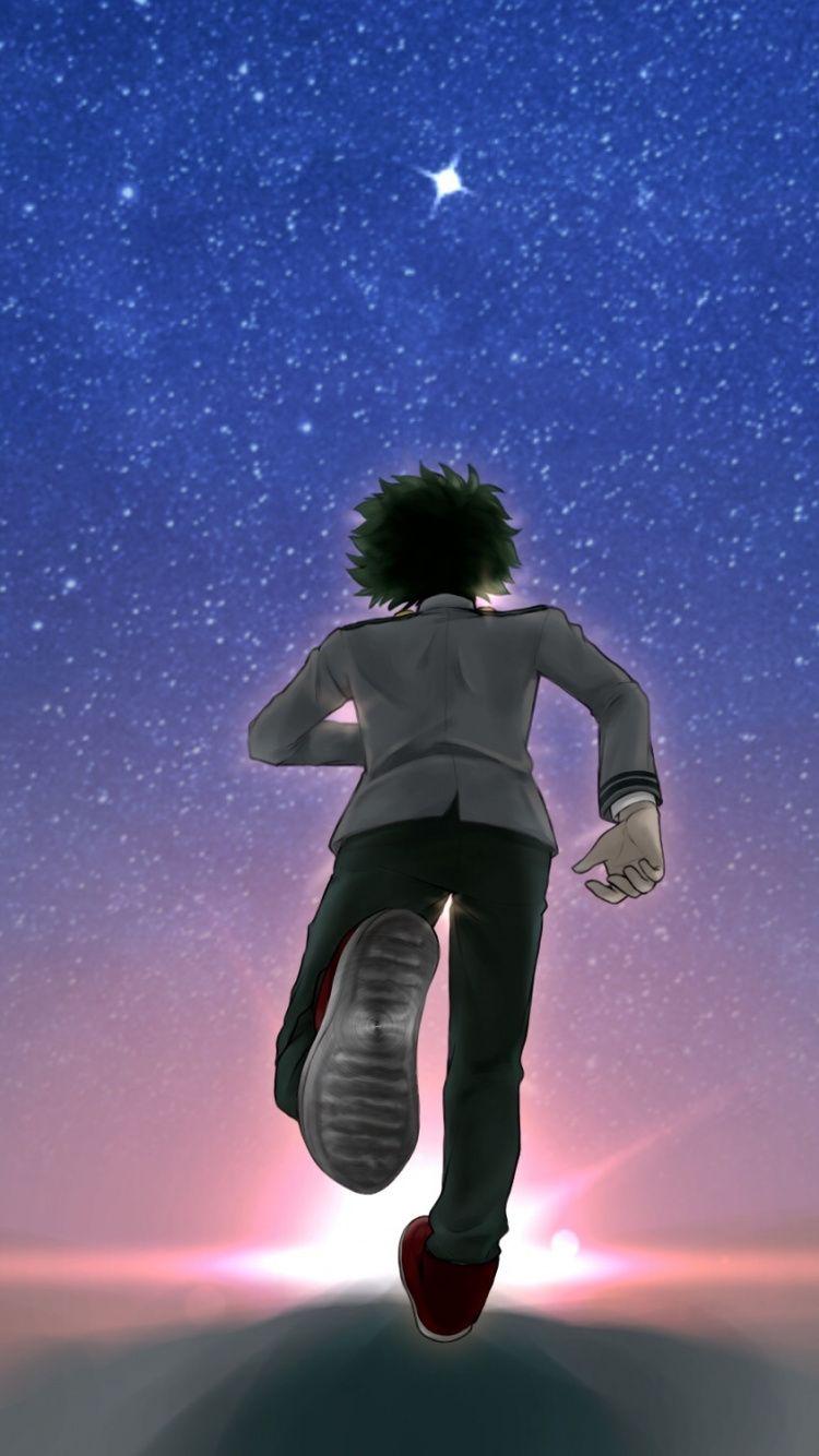 Anime Boy Running : anime, running, Anime, Izuku, Midoriya,, 750x1334, Wallpaper, Anime,