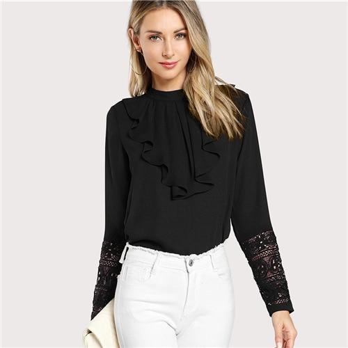 SHEIN Black Streetwear Elegant Office