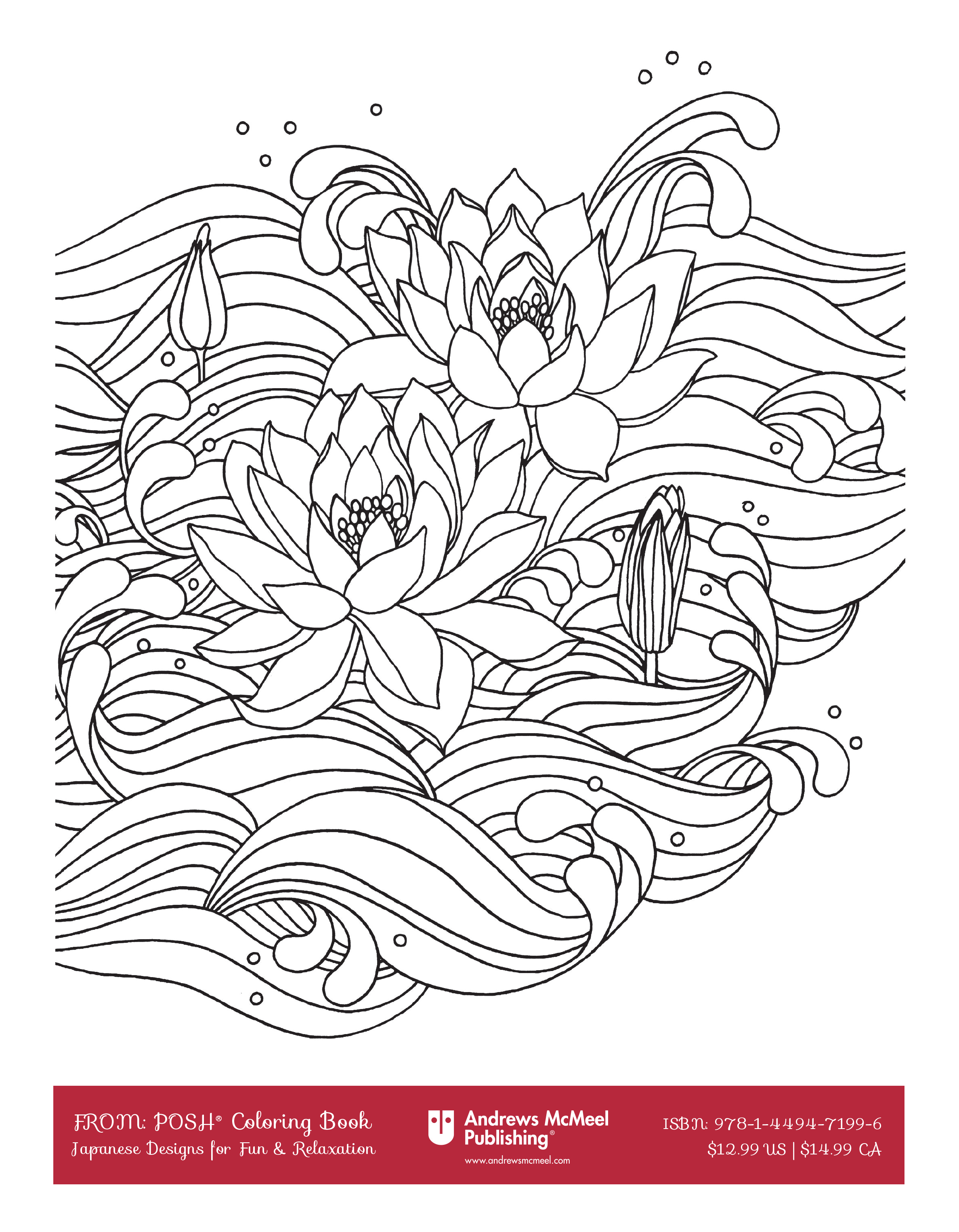 Lotus designs coloring book - A Page From The Japanese Designs Posh Coloring Book