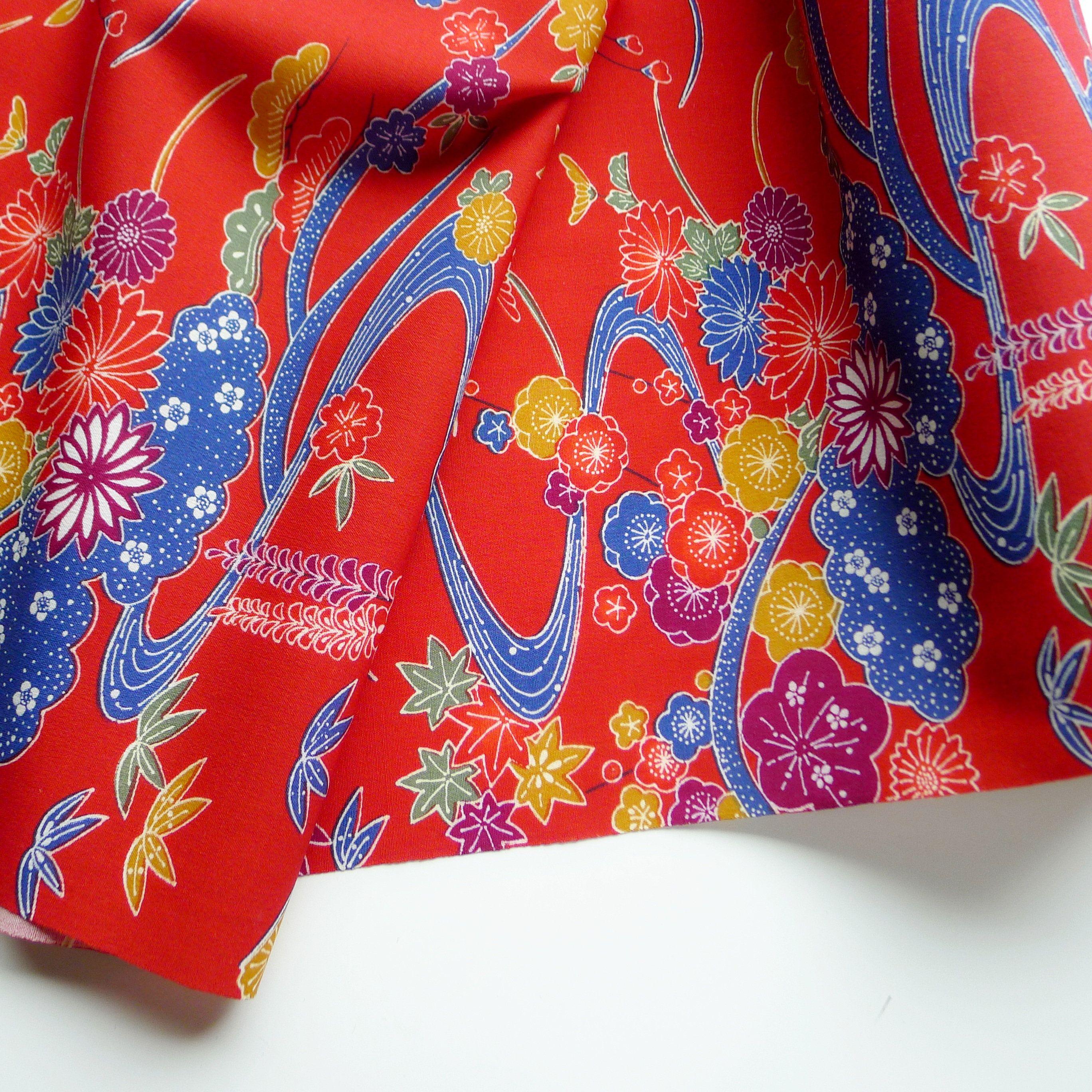 Floral Wool Kimono Fabric Botanical Pattern Unused Bolt By Etsy Kimono Fabric Botanical Pattern Fabric