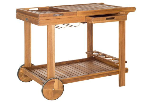 Use This Solid Wood Tea Trolley As A Rustic Inspired