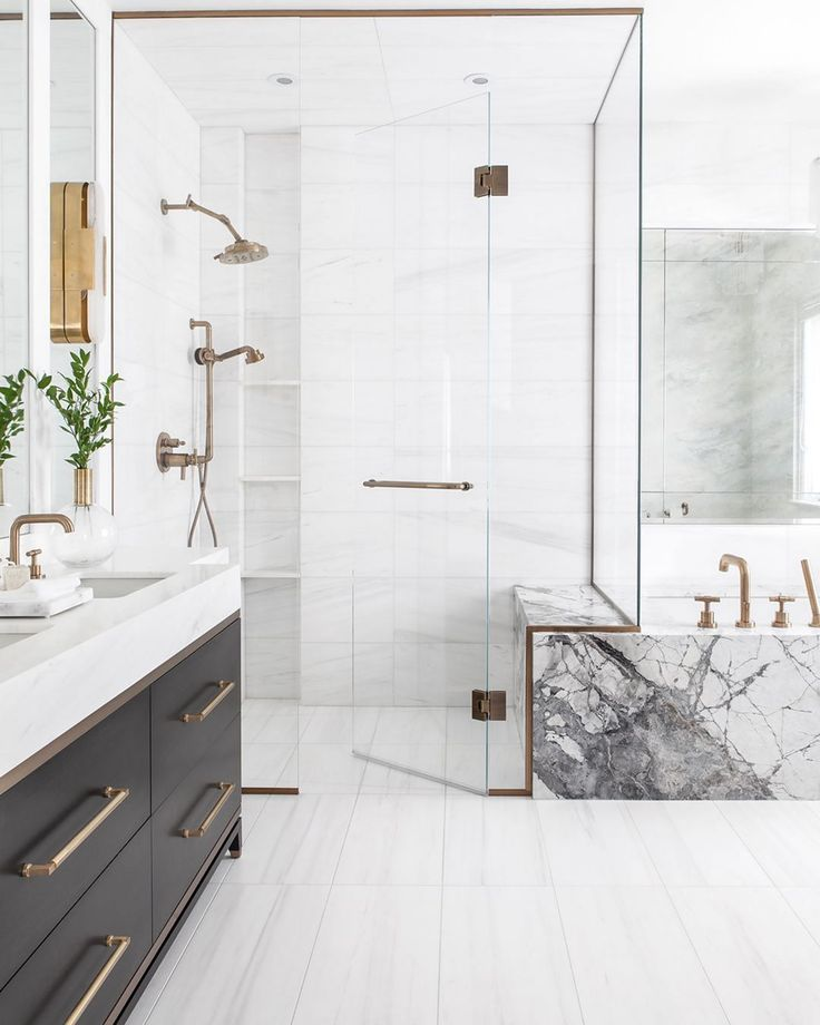 Gray And White Bathroom Gray Vanity Glass Shower Brass Hardware Bathroom Interior Design Bathroom Interior Bathroom Design