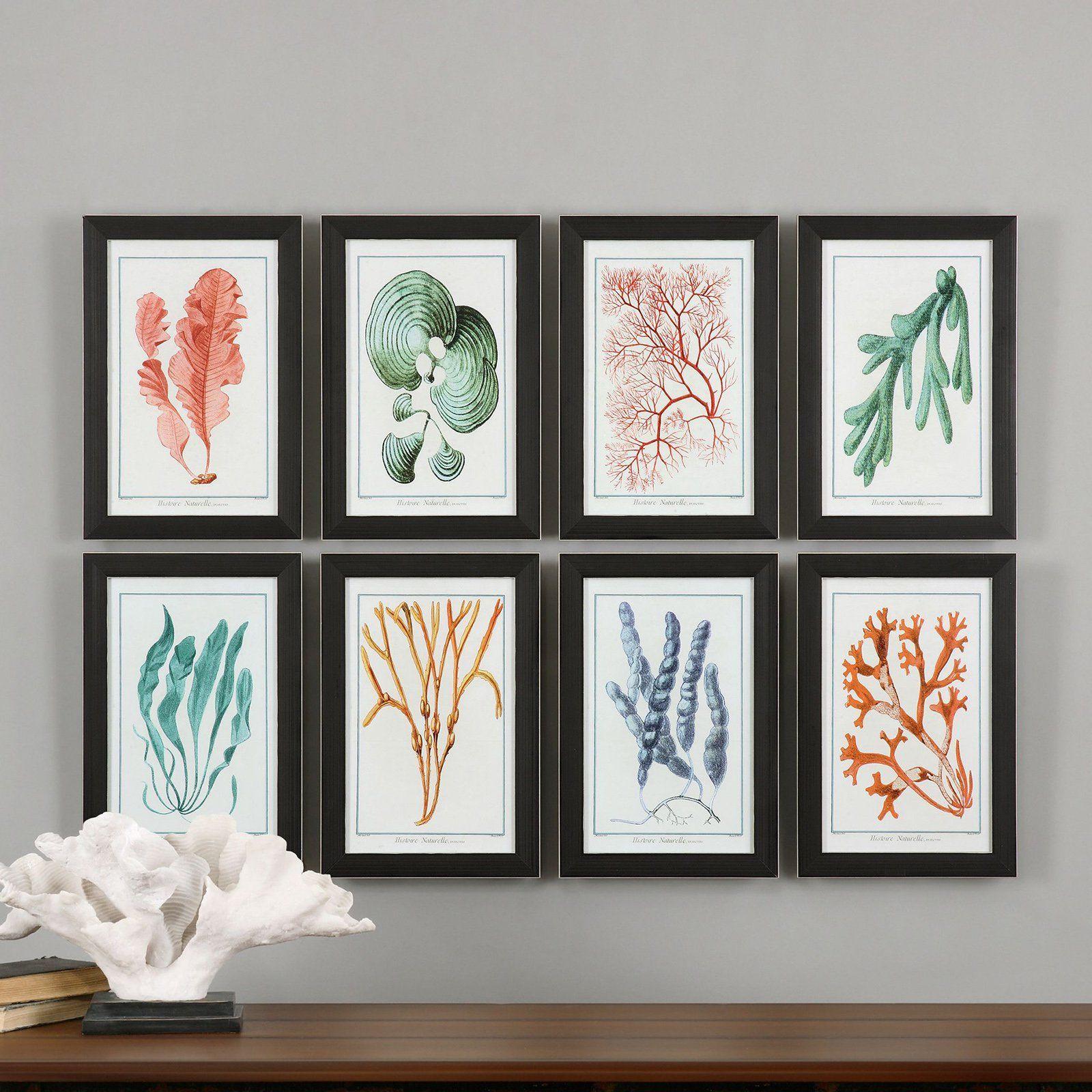 Uttermost Colorful Algae Framed Art  Set Of 8