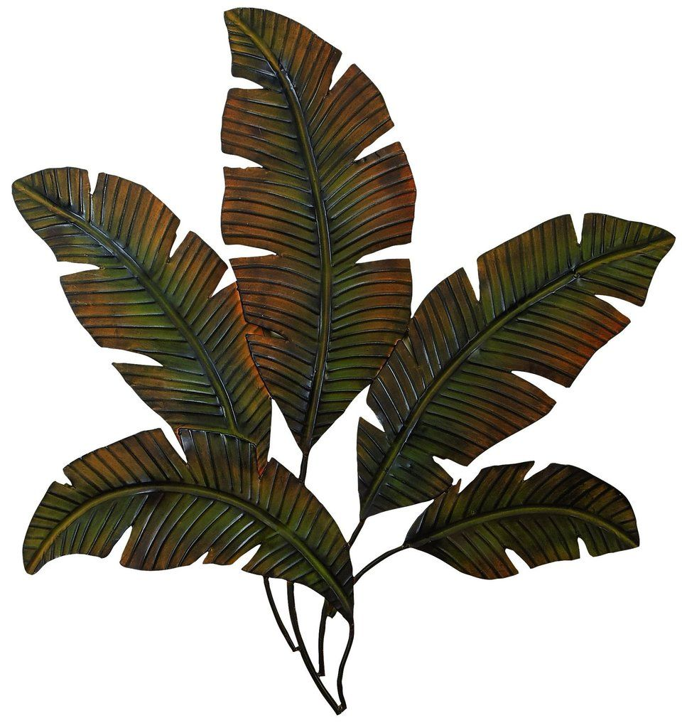 Large metal palm art wall decor iron tropical leaves leaf sculpture