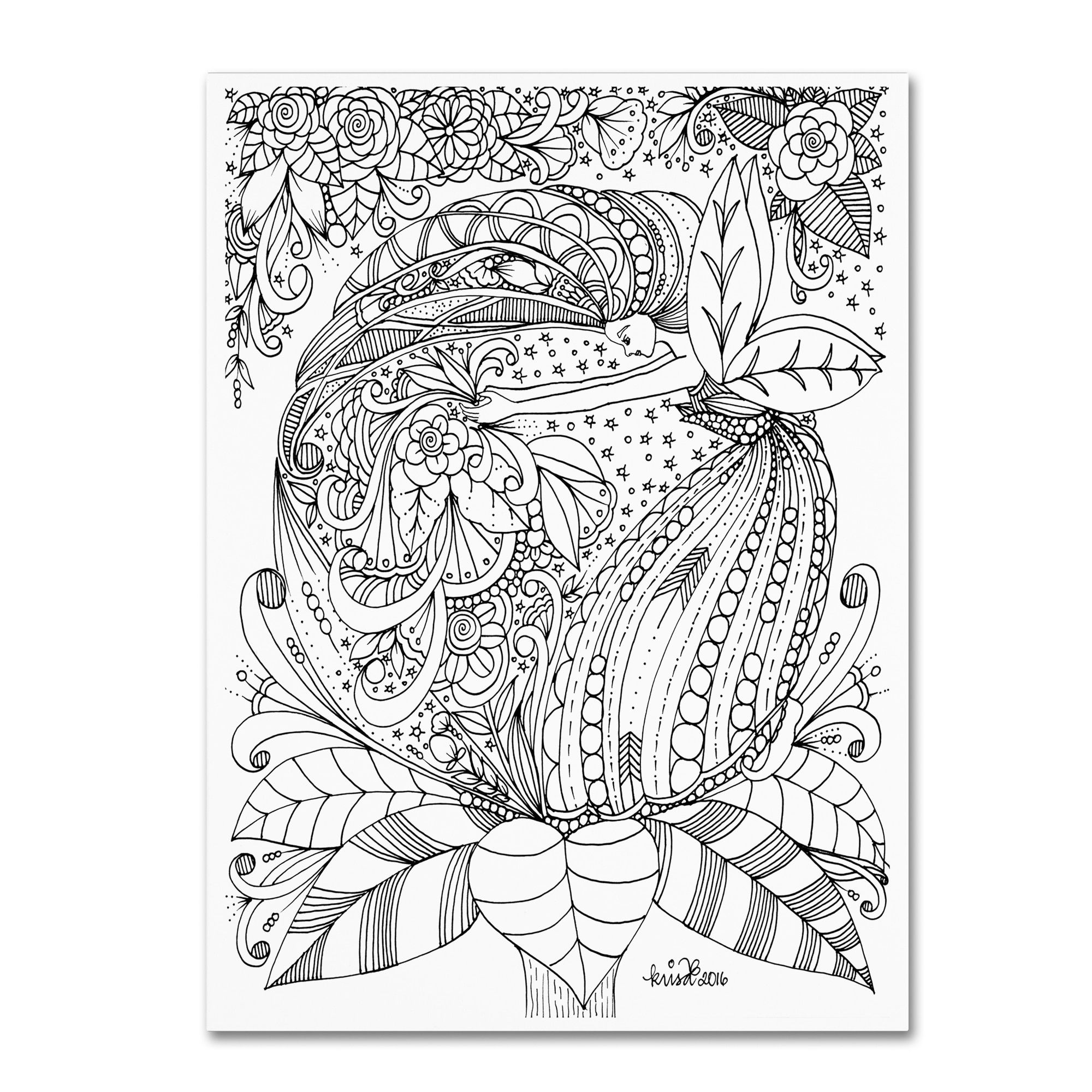 KCDoodleArt 'Fairies and Woodland Creatures 16' Canvas Art