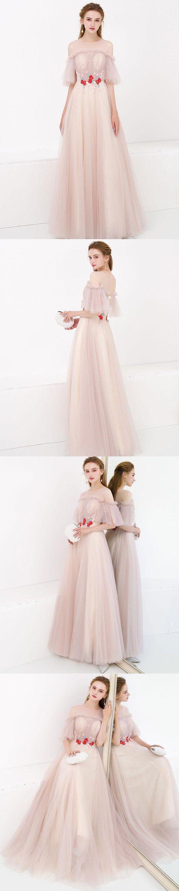 Half sleeve fairy prom dresses aline floorlength tulle long simple