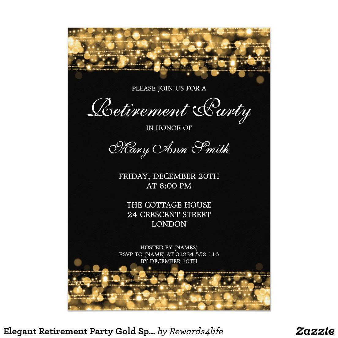 Elegant retirement party gold sparkles card retirement parties elegant retirement party gold sparkles 5x7 paper invitation card stopboris Gallery