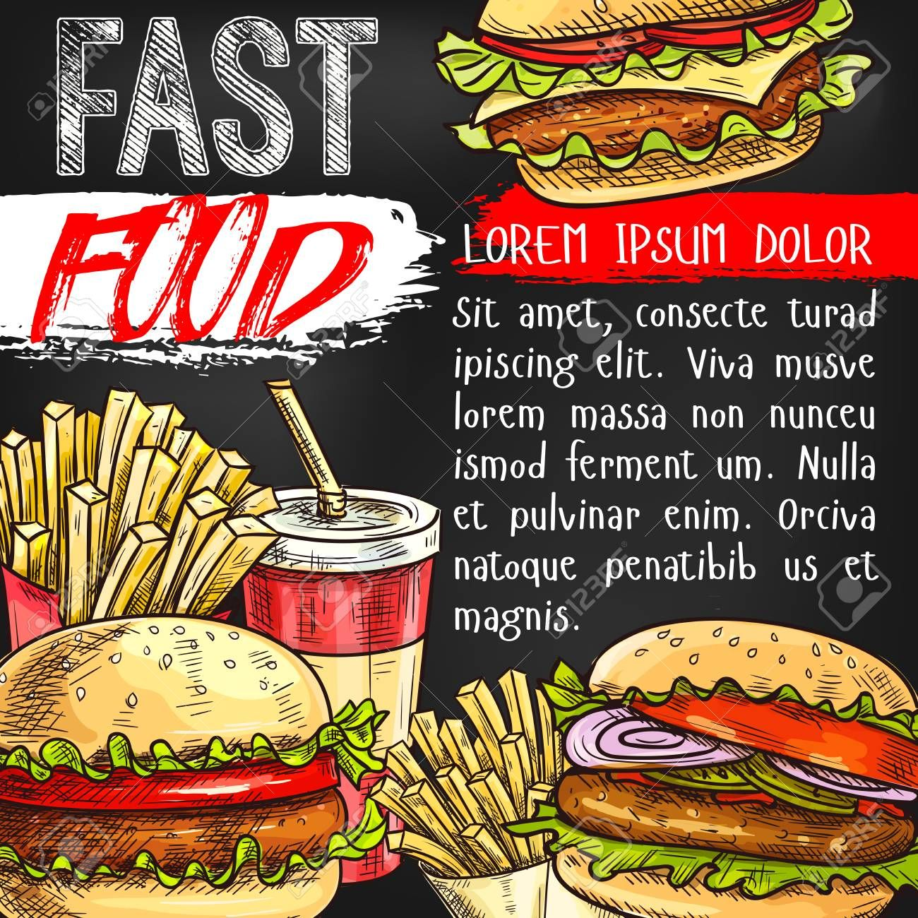 Fast food vector poster for fastfood restaurant ...