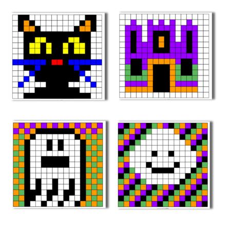 Halloween Pixel Art Pixel Art Coloriage Pixel Art Halloween En Maternelle