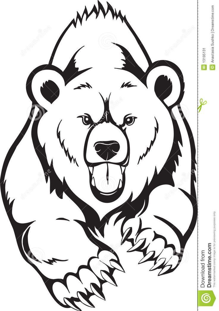 Grizzly Bear Head Outline grizzly bear head school art ...