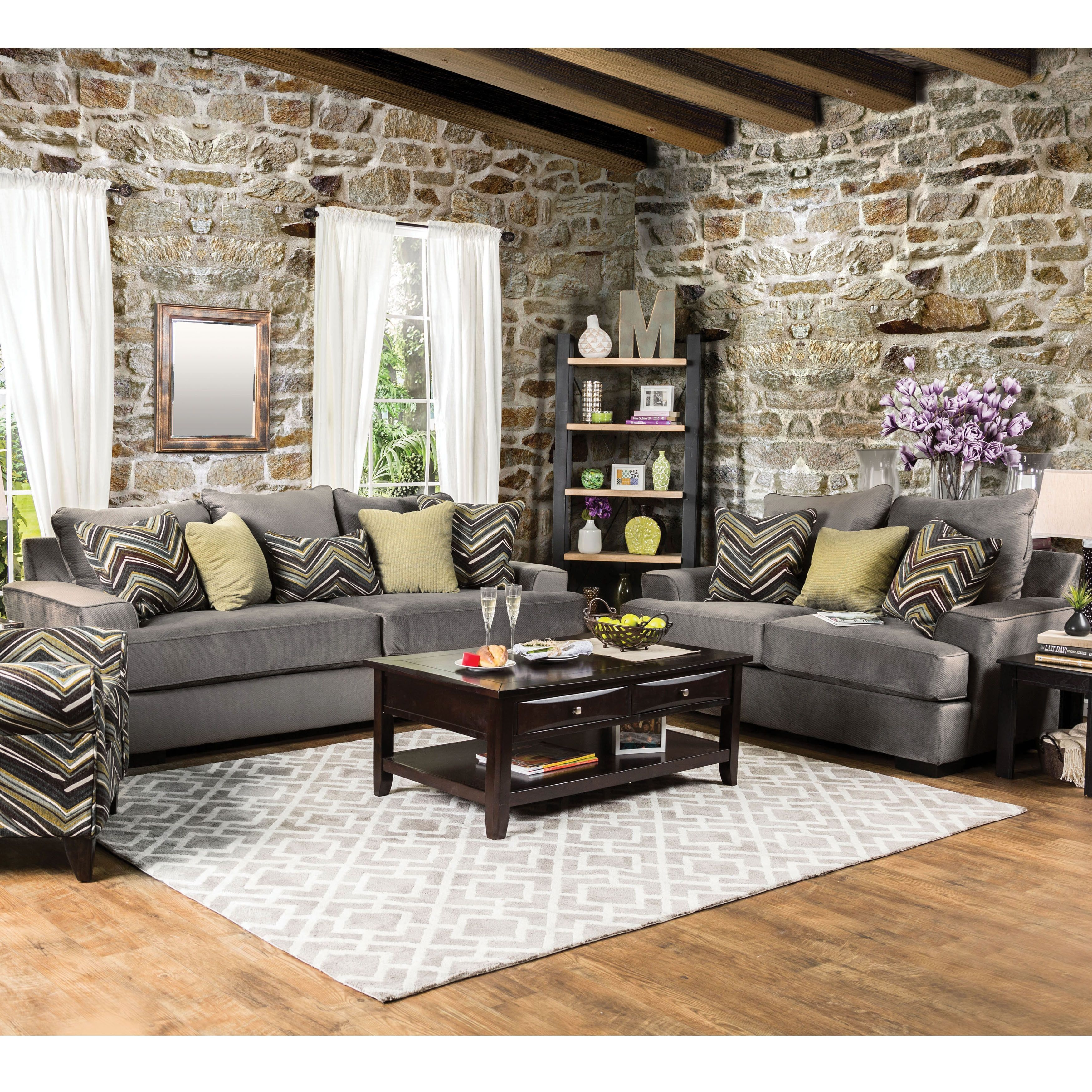 Furniture of America Avnet Contemporary 2 piece Olive Grey Fabric