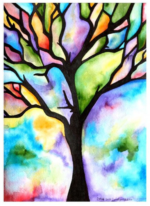 Watercolor Tree Art Painting Art